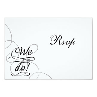 We Do, Swirly Black and White Wedding RSVP Card