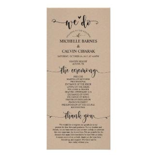 We do Wedding program card in rustic fawn theme