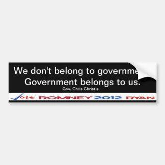 We don't belong to government Gov Christie Sticker Bumper Sticker