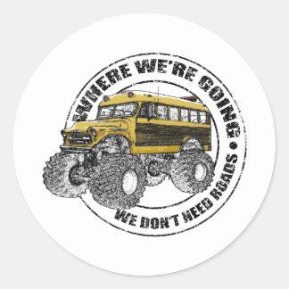 We Don't Need Roads Classic Round Sticker