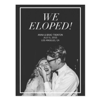 We Eloped | Modern Photo Wedding Announcement Postcard