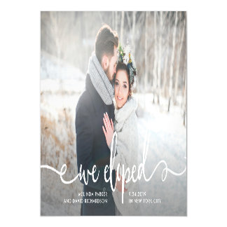 We Eloped   Modern Rustic Photo Magnetic Invitations
