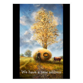 We have a new address | Funny Egg House Postcard