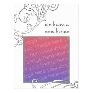 we have a new home : white flourish postcard