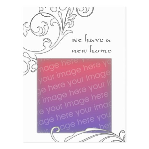 we have a new home : white flourish post card