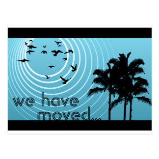 we have moved announcement : sunscene postcard