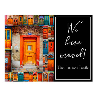 We Have Moved Chic Modern Doors Script Postcard
