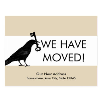 We Have Moved Crow with Key Change of Address Postcard