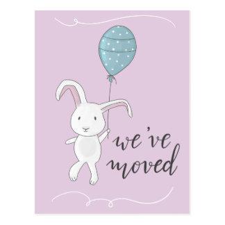 We Have Moved Cute Rabbit Illustration Pink Postcard