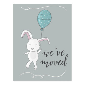 We Have Moved Cute Rabbit Illustration Postcard