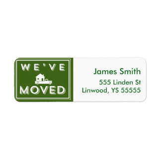 We have moved Green Graphic with Truck and House