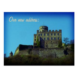We have moved, New address, medieval castle card Postcard