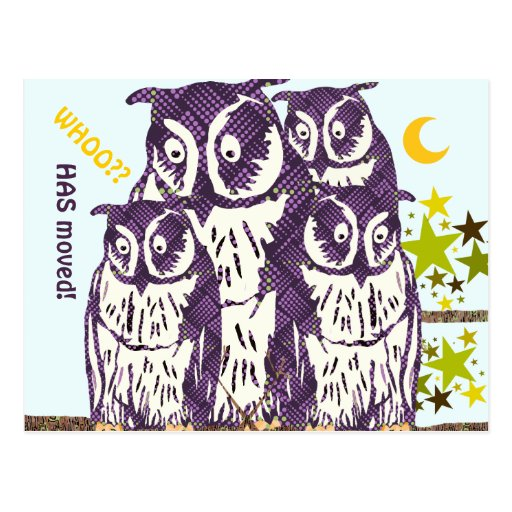 We Have Moved Owl Family Post Card