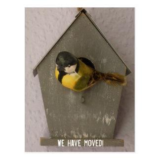 We have moved - postcard Birdhouse Postkarte