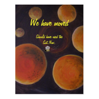 We have moved, Postcard, Wasp lost in space Postcard
