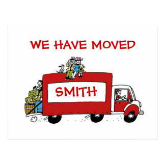 We have moved postcard with moving van