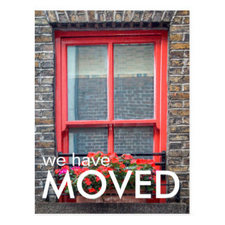 We have Moved Red Bright Window Photo Postcard