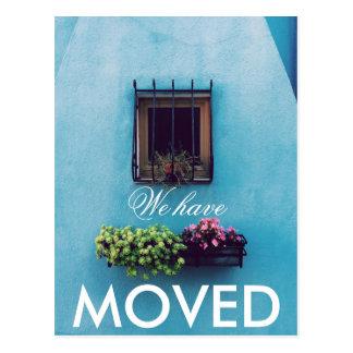 We have Moved Vibrant Aqua Wall Postcard