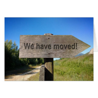 We have moved wooden sign card