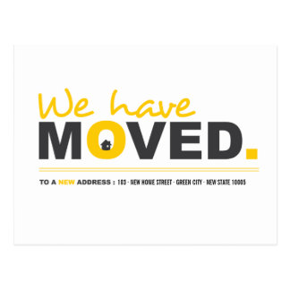 We Have Moved Yellow Moving Announcement Postcard