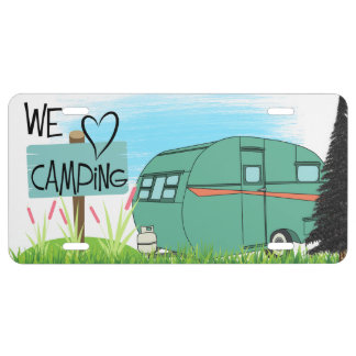 We Heart Camping License Plate