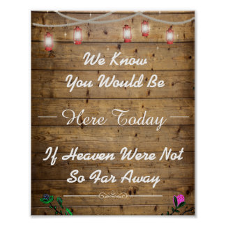 We Know You Would Be Here Rustic Lanterns Poster
