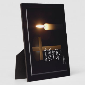 We Live By Faith Bible Verse Plaque