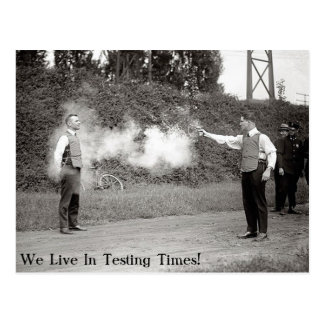 We Live In testing Times - Postcard