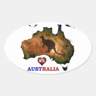 WE LOVE AUSTRALIA. OVAL STICKER