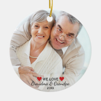 We Love Grandma & Grandpa 2 Photo Christmas Ceramic Ornament