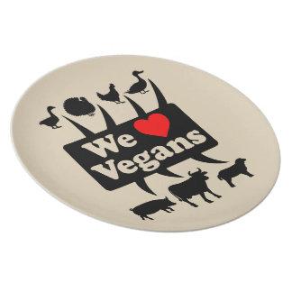 We love Vegans II (blk) Plate