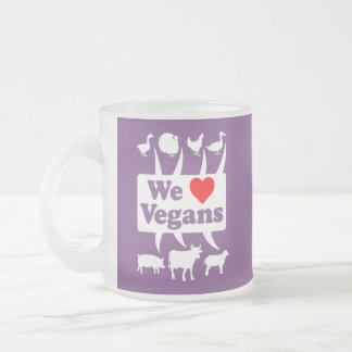 We love Vegans II (wht) Frosted Glass Coffee Mug