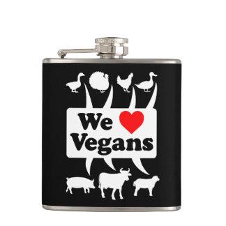 We love Vegans II (wht) Hip Flask