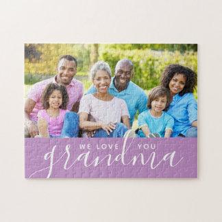 We Love You Grandma Custom Photo Mother's Day Gift Jigsaw Puzzle