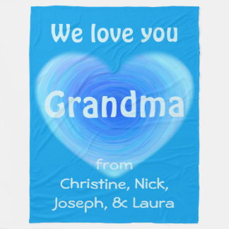 We Love You Grandma Personalized Blue Heart Fleece Blanket