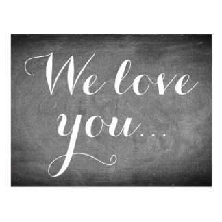 We love you, Handwriting Typography Black White Postcard