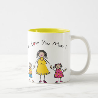 We Love You Mom Cartoon Family Happy Mother s Day Mugs