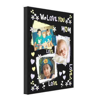 We Love You Mom Photo Canvas Print lilac