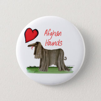we luv afghan hounds from tony fernandes 2 inch round button