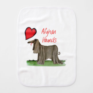 we luv afghan hounds from tony fernandes burp cloth