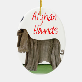 we luv afghan hounds from tony fernandes ceramic ornament