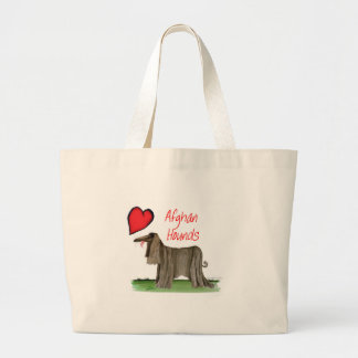 we luv afghan hounds from tony fernandes large tote bag