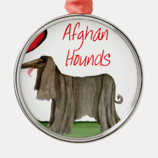 we luv afghan hounds from tony fernandes metal ornament