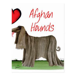 we luv afghan hounds from tony fernandes postcard
