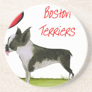 we luv boston terriers from tony fernandes drink coasters