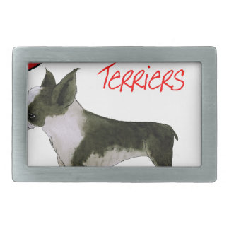 we luv boston terriers from tony fernandes rectangular belt buckles