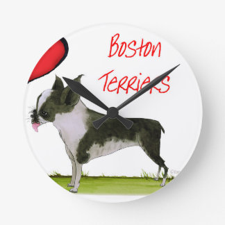 we luv boston terriers from tony fernandes round clock