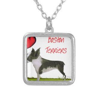 we luv boston terriers from tony fernandes silver plated necklace