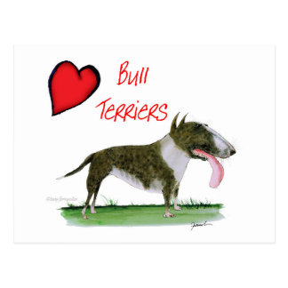 we luv bull terriers from tony fernandes postcard