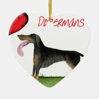 we luv dobermans from Tony Fernandes Ceramic Ornament